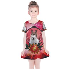 Cute Pemeranian With Flowers Kids  Simple Cotton Dress