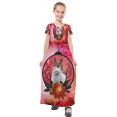 Cute Pemeranian With Flowers Kids  Short Sleeve Maxi Dress by FantasyWorld7