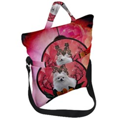 Cute Pemeranian With Flowers Fold Over Handle Tote Bag by FantasyWorld7