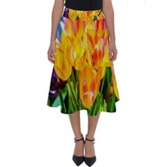 Festival Of Tulip Flowers Perfect Length Midi Skirt by FunnyCow