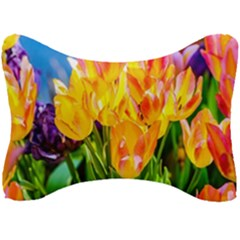 Festival Of Tulip Flowers Seat Head Rest Cushion by FunnyCow