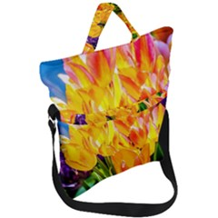 Festival Of Tulip Flowers Fold Over Handle Tote Bag