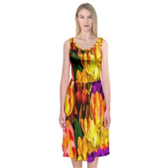 Fancy Tulip Flowers In Spring Midi Sleeveless Dress
