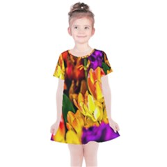 Fancy Tulip Flowers In Spring Kids  Simple Cotton Dress