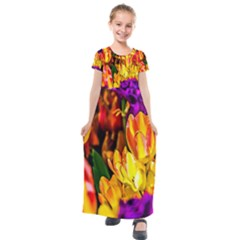 Fancy Tulip Flowers In Spring Kids  Short Sleeve Maxi Dress