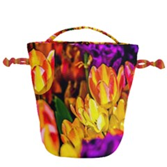 Fancy Tulip Flowers In Spring Drawstring Bucket Bag by FunnyCow