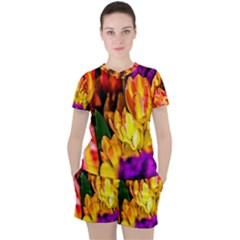 Fancy Tulip Flowers In Spring Women s Tee And Shorts Set