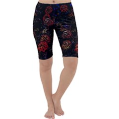 Floral Fireworks Cropped Leggings  by FunnyCow