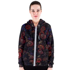 Floral Fireworks Women s Zipper Hoodie by FunnyCow
