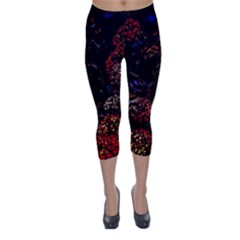 Floral Fireworks Capri Winter Leggings  by FunnyCow