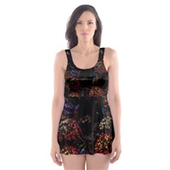 Floral Fireworks Skater Dress Swimsuit by FunnyCow
