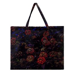 Floral Fireworks Zipper Large Tote Bag by FunnyCow