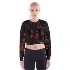 Floral Fireworks Cropped Sweatshirt by FunnyCow
