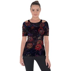 Floral Fireworks Shoulder Cut Out Short Sleeve Top by FunnyCow