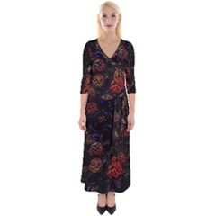 Floral Fireworks Quarter Sleeve Wrap Maxi Dress by FunnyCow