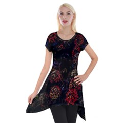 Floral Fireworks Short Sleeve Side Drop Tunic by FunnyCow