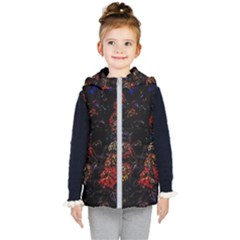 Floral Fireworks Kid s Hooded Puffer Vest by FunnyCow