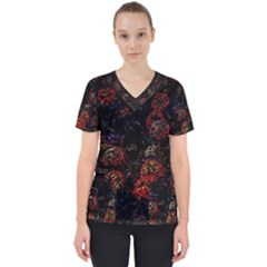 Floral Fireworks Women s V Neck Scrub Top by FunnyCow