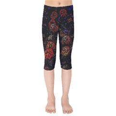 Floral Fireworks Kids  Capri Leggings  by FunnyCow