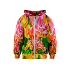 Blushing Tulip Flowers Kids  Zipper Hoodie