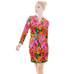 Blushing Tulip Flowers Button Long Sleeve Dress by FunnyCow