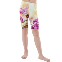 Paradise Apple Blossoms Kids  Mid Length Swim Shorts by FunnyCow