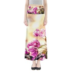 Paradise Apple Blossoms Full Length Maxi Skirt
