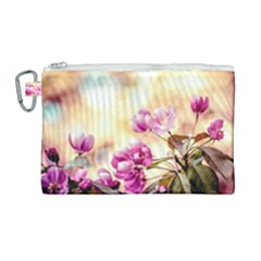 Paradise Apple Blossoms Canvas Cosmetic Bag (large) by FunnyCow