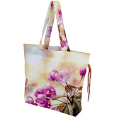 Paradise Apple Blossoms Drawstring Tote Bag by FunnyCow
