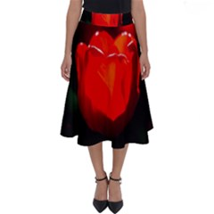 Red Tulip A Bowl Of Fire Perfect Length Midi Skirt by FunnyCow