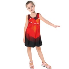 Red Tulip A Bowl Of Fire Kids  Sleeveless Dress by FunnyCow