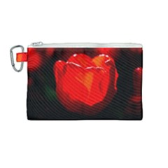 Red Tulip A Bowl Of Fire Canvas Cosmetic Bag (medium) by FunnyCow