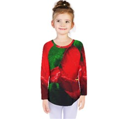Red Tulip After The Shower Kids  Long Sleeve Tee