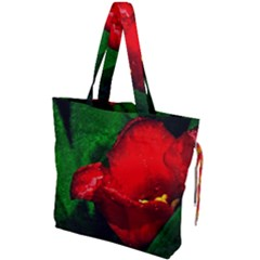 Red Tulip After The Shower Drawstring Tote Bag by FunnyCow
