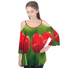 Three Red Tulips, Green Background Flutter Tees by FunnyCow