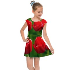 Three Red Tulips, Green Background Kids Cap Sleeve Dress by FunnyCow