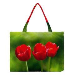 Three Red Tulips, Green Background Medium Tote Bag by FunnyCow