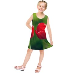 Three Red Tulips, Green Background Kids  Tunic Dress