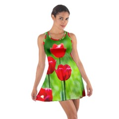Red Tulip Flowers, Sunny Day Cotton Racerback Dress