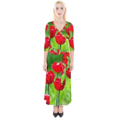 Red Tulip Flowers, Sunny Day Quarter Sleeve Wrap Maxi Dress