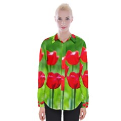 Red Tulip Flowers, Sunny Day Womens Long Sleeve Shirt by FunnyCow
