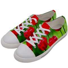 Red Tulip Flowers, Sunny Day Women s Low Top Canvas Sneakers by FunnyCow