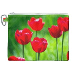 Red Tulip Flowers, Sunny Day Canvas Cosmetic Bag (xxl) by FunnyCow