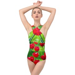 Red Tulip Flowers, Sunny Day Cross Front Low Back Swimsuit