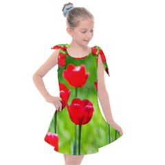 Red Tulip Flowers, Sunny Day Kids  Tie Up Tunic Dress