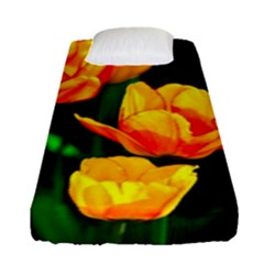 Yellow Orange Tulip Flowers Fitted Sheet (single Size) by FunnyCow