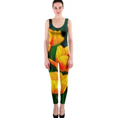 Yellow Orange Tulip Flowers One Piece Catsuit by FunnyCow