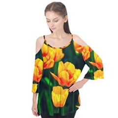 Yellow Orange Tulip Flowers Flutter Tees