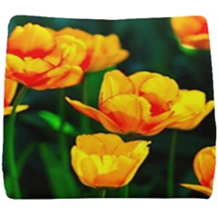 Yellow Orange Tulip Flowers Seat Cushion by FunnyCow