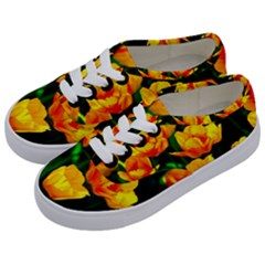 Yellow Orange Tulip Flowers Kids  Classic Low Top Sneakers by FunnyCow
